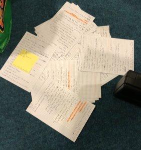 Svens Notzen (viele DIN A5 Blätter mit Textmarker und Stickies)